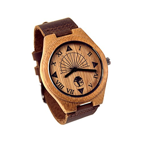 Viable Harvest Men's Wood Watch, Unique Sundial Design, Natural Bamboo, Genuine Leather and Gift Box (Brown) ()
