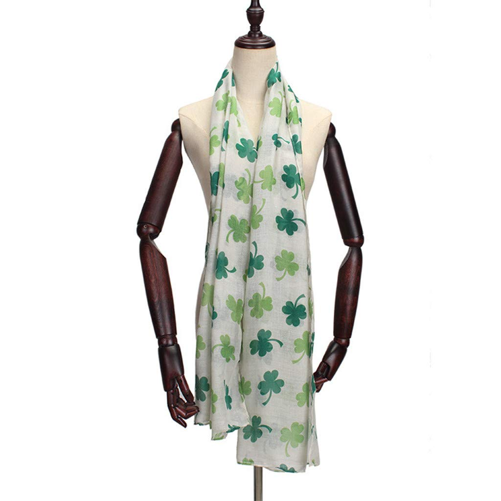 WensLTD St Patricks Day Green Irish Women Scarf Four-leaf Shamrock Shawl Wrap Scarves