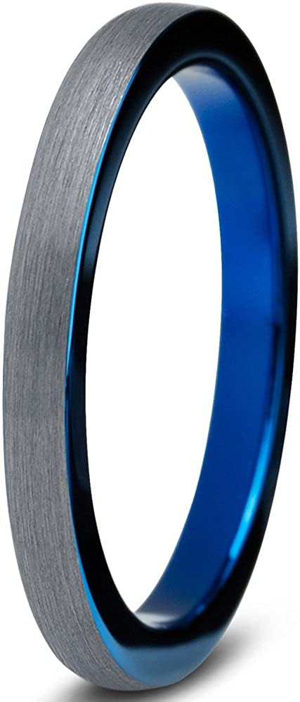 Tungsten Wedding Band Ring 2mm for Men Women Comfort Fit Blue Round Domed Brushed Charming Jewelers CJCDN-640-B