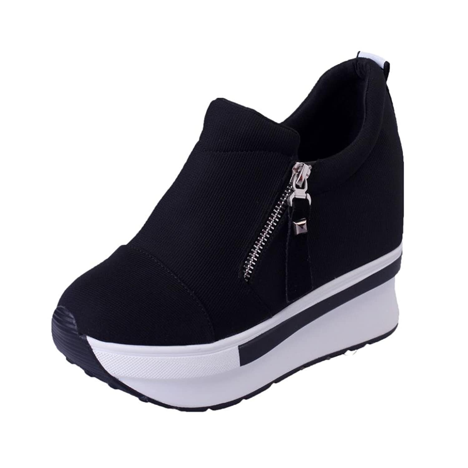 cdf60e14588 high-quality Sikye Women s High Platform Loafer Shoes Casual Hidden Heel  Canvas Sneakers Slip On