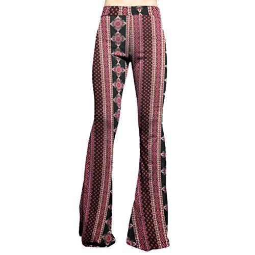 SMT Women's High Waist Wide Leg Long Bell Bottom Yoga Pants X-Large Boho Mix -