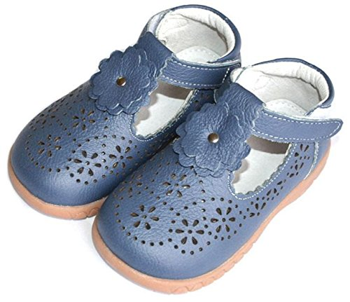 Bumud Toddler Little Girl's Footwear Cutout Shoes T-Strap Flats Mary Jane (Toddler/Little Kid) (9 M US Toddler, Blue) ()