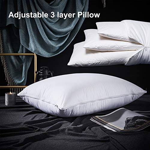 PALAWRAN Goose Down Pillow Queen Size,Adjustable 3 Layer Pillow for Side Sleepers,Back Sleepers,100% Egyptian Cotton,Hypoallergenic Pillow for Sleeping 20x28 Inches,1-Pack