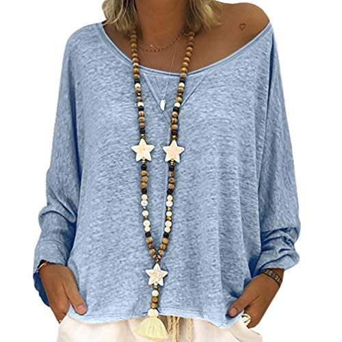 Chemise Bleu Longues Shirt Femmes Manches T Top Automne YOUJIAA Casual Pulls Blouse xqTwY6WC7