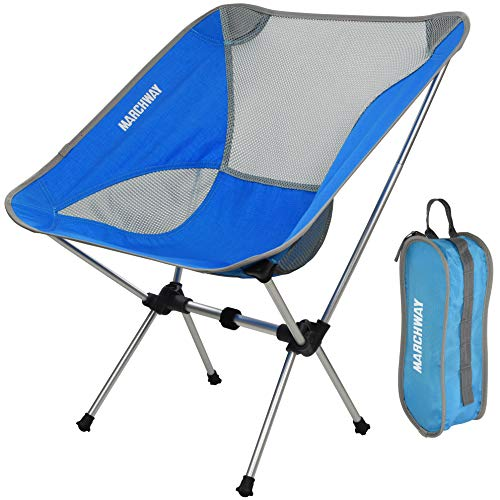 Ultralight Folding Camping Chair, Portable Compact for Outdoor Camp, Travel, Beach, Picnic, Festival, Hiking, Lightweight Backpacking (Bright Blue)