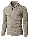 H2H Mens Knited Slim Fit Pullover Sweater Shawl Collar With One Button Point IVORY US S/Asia M (KMOSWL036)