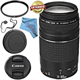 Canon EF 75-300mm f/4-5.6 III Lens 6473A003 + 58mm UV Filter + Fibercloth + Lens Capkeeper Bundle
