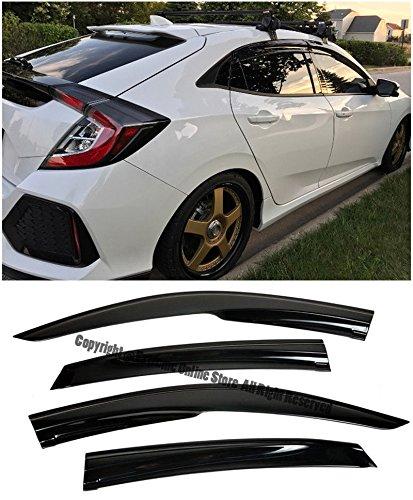 For 16-Up Honda Civic 5Dr Hatchback Tape-On Mugen Style Smoke Tinted JDM Side Window Visors Rain Guard Deflectors 2016 2017 16 17 Hatch Wagon 5D