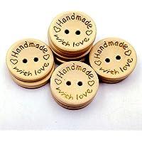 Yunjia 100pcs Natural Wooden Handmade with Love Round...