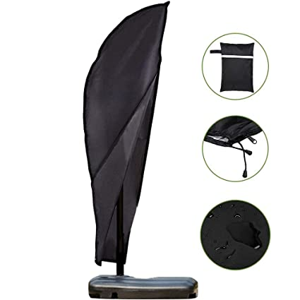 black Waterproof Patio Offset Umbrella Cover With Zipper Fits Banana Cantilever Parasol Outdoor Umbrellas Reputation First
