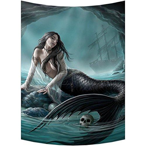 Custom Skull Green Mermaid Wall Art Tapestries Home Decor Wall Hanging Tapestry Size 60
