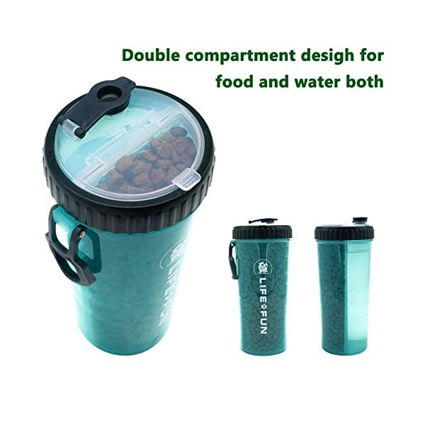 LIFE4FUN Dog Water Bottle for Walking and Food Container 2 in 1 with Dog Water Bowl Collapsible, Travel Dog Water Dispenser for Pets, (XL Size, Blue) 3