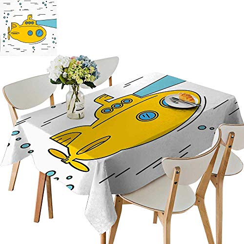 (UHOO2018 Square/Rectangle Polyester Table Cloth Ocean Nautical Adventure Underwater with Bubbles Porthole Cartoon Kids White Yellow Blue Easy Care Spillproof,50 x102inch)
