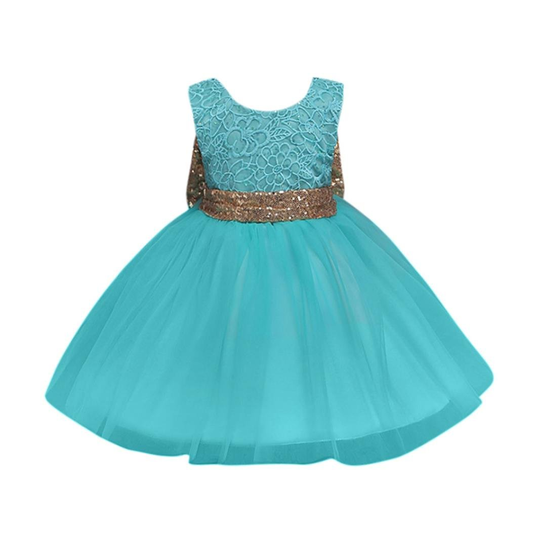 Elevin(TM) Flower Baby Girl Princess Bridesmaid Pageant Gown Birthday Party Wedding Dress (12M, A Green)