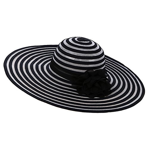 Shadow Girls Stripe Mesh (Lujuny Women Super Wide Brim Sun Hat - Summer Flower Beach Tea Party Wedding Dress Cap)