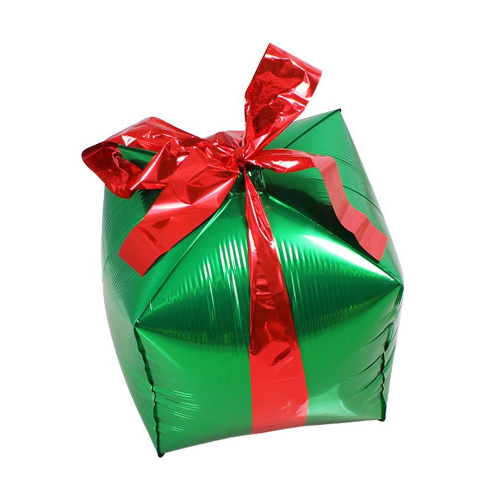 Amosfun Weihnachtsfolienballon-Geschenkboxaluminiumpartei-Ballonweihnachtsaufblasbare Geschenkbox f/ür das goldene Neue Jahr des Weihnachtsdekorationsgeburtstags