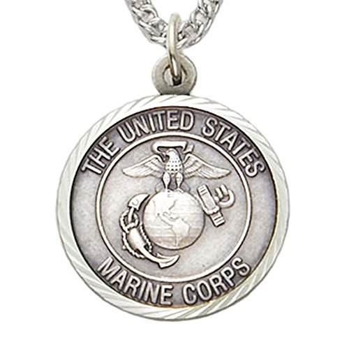 TrueFaithJewelry Sterling Silver United States Marine Corps Medal with Christ Cross Back, 3/4 Inch ()