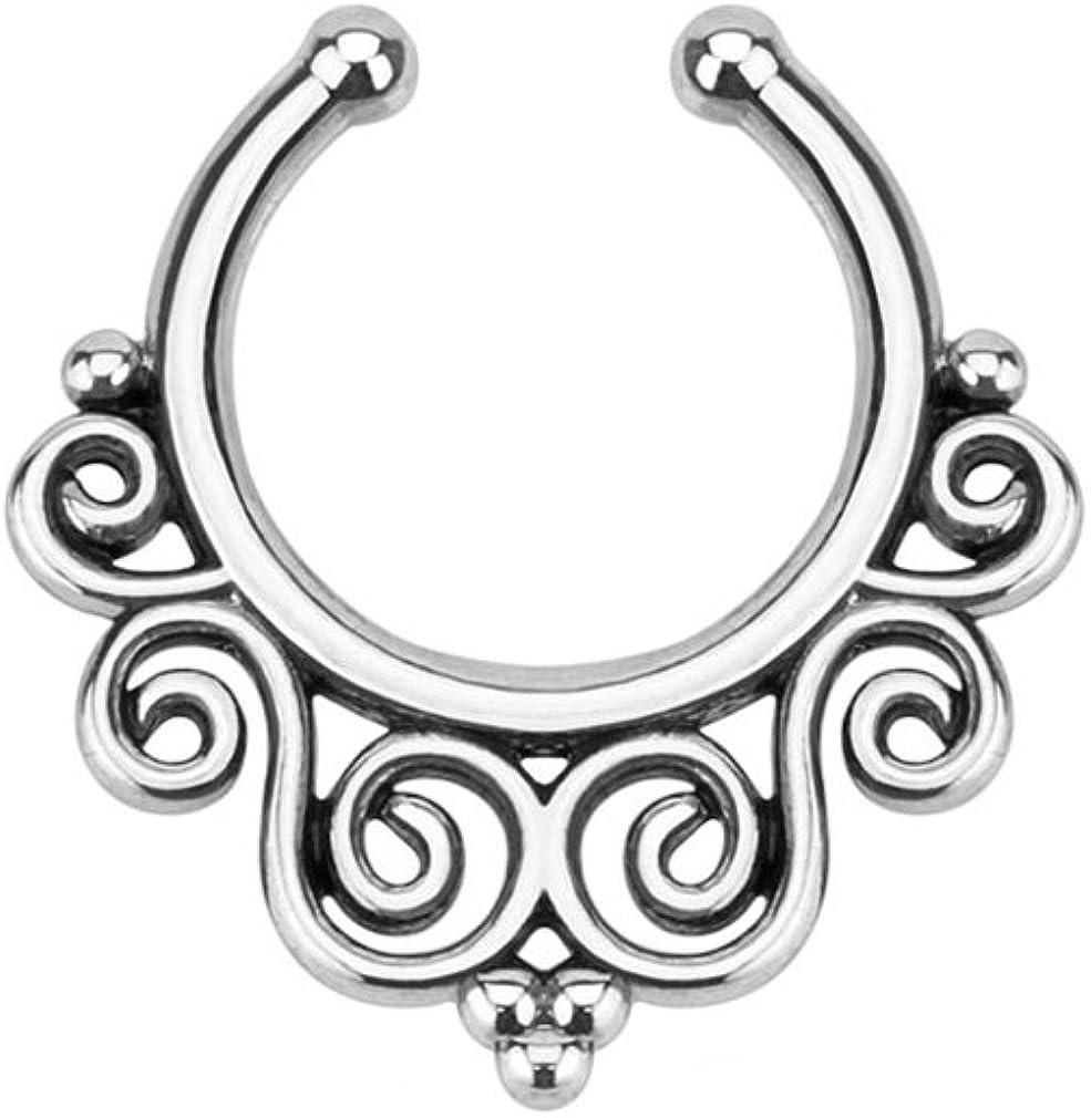 Classic Swirl Silver Fake Septum Clicker Ring