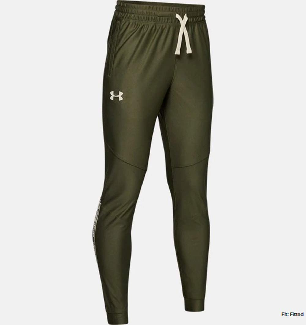 Under Armour Boys' Prototype Pants, Guardian Green (315)/Butter White, Youth Large by Under Armour