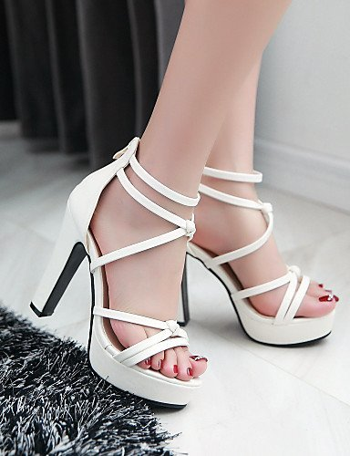 ShangYi Women's Shoes Heel Heels / Peep Toe / Platform Sandals / Heels Outdoor / Dress / Casual Black / Pink / Red / White White zQE46g