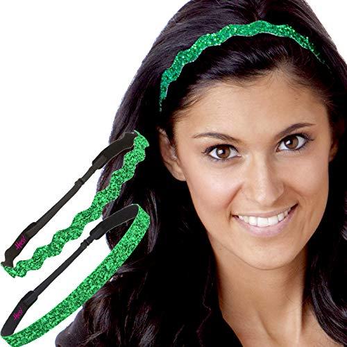 Hipsy Irish Green Headband St Patricks Day Accessories Clover Headband Gift Packs (Skinny & Wave Bling 2pk)