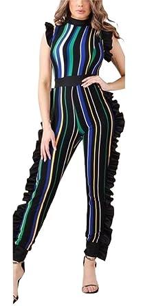 a6171db49f58 Amazon.com  Caumoo Womens Sleeveless Stripe Ruffle Mesh Long Pants Party Jumpsuits  Romper Playsuit  Clothing