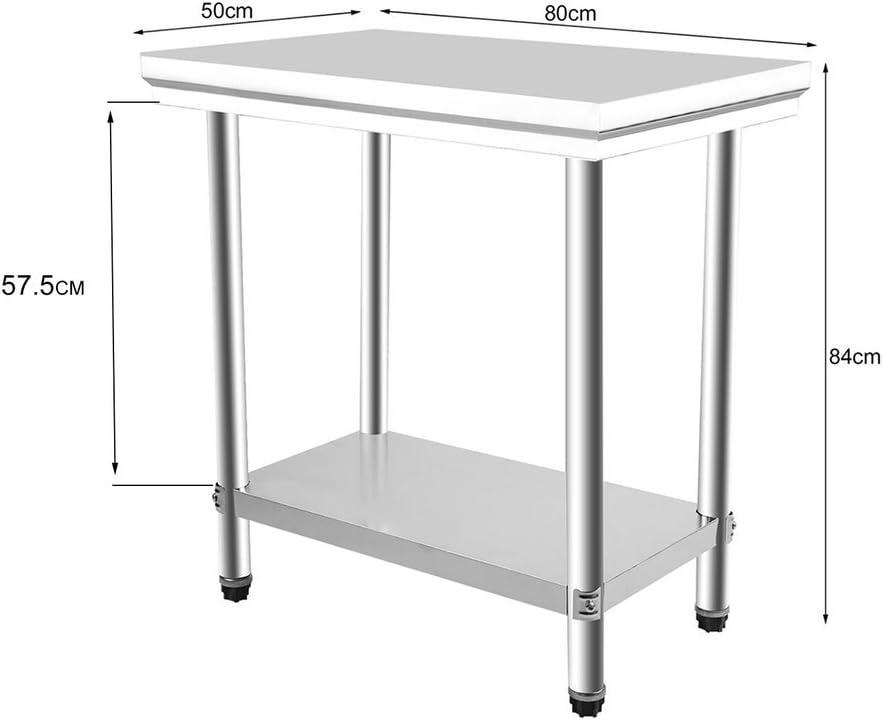 80/x 50/x 84/cm TaTaYung Tavolo di Preparazione Regolabile in Acciaio Inox per Cucina Piano di Lavoro Cucina in 2/Etage