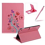 Case for New iPad 9.7 2017,Smart Leather Cover for New iPad 9.7 2017,Herzzer Stylish Pink Butterfly Flower Design Wallet Folio Case Full Body PU Leather Protective Stand Cover with Inner Soft Silicone Shell