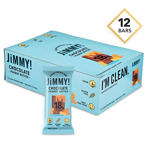 JiMMY! Clean Protein Bars, Natural & Gluten Free, High Protein, Low Sugar, Chocolate Peanut Butter, 12 Pack