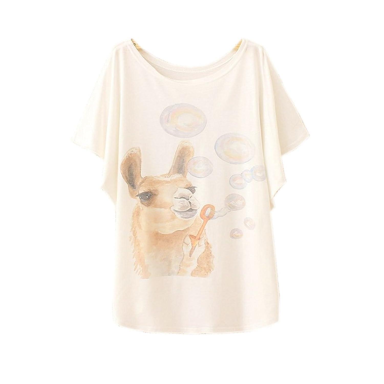 Women's Cute Pastel Tops Tees Alpaca Design Print II (Size M)