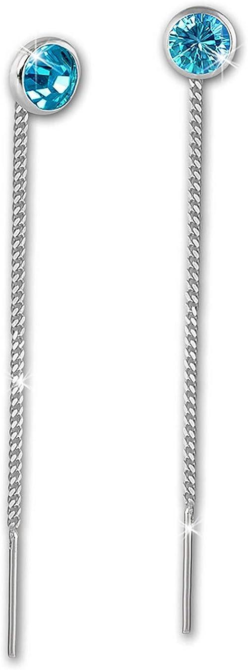 SilberDream SDO5964T Pendientes de mujer, 4 mm, plata 925, circonita, turquesa
