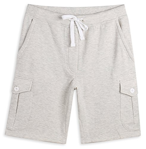 HARBETH Men's Classic-Fit 5-Pockets Cargo Short Cotton Elastic Fleece Gym Shorts Heather Oatmeal L ()