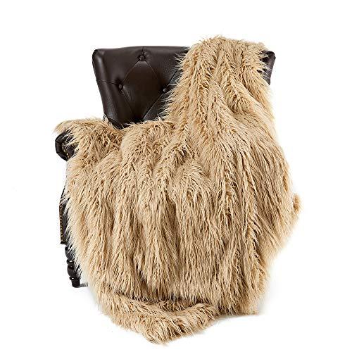 FFLMYUHUL I U Super Soft Faux Fur Throw Blanket & Bedspread Mongolian Fur Blanket Long Faux Fur Blanket Decorative for Bedroom Sofa Floor MT779-A-brown