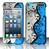 Silver Blue Vine Hard Cover Case for Apple iPod Touch 5 5th Gen