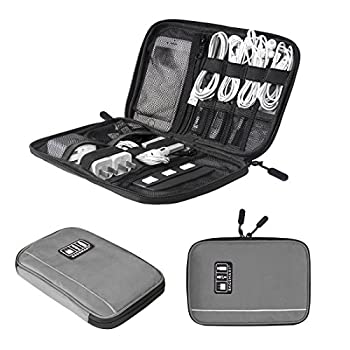 BAGSMART Travel Universal Cable Organizer Electronics Accessories Cases For Various USB, Phone, Charger and Cable, Grey