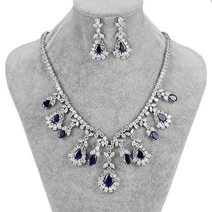 Neue Frauen Braut Hochzeit Perle Strass Halskette Ohrringe Schmuck Set OX