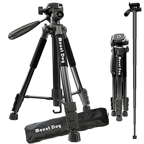 MountDog Camera Tripod 60 Aluminum Alloy Lightweight Tripod Stand & Monopod Compact for Travel with 360° Panorama and Quick Release Plates for Canon Nikon DSLR Video Shooting - Black