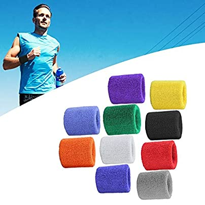 HibiscusElla Pair Pure Cotton Wristbands Soft Wrist Guard Support Bands Wrist Bands Sport Sweatbands for Playing Basketball Tennis Estimated Price £0.01 -
