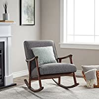 Wooden Rocking Chair Provides Elegant Style And Function. Padded Seat Accent Chair Suitable For Living Rooms And Nurseries. Rich Brown Hardwood Frame And Gray Cushions Create Mid Century Modern Feel.