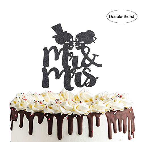 Skull Mr And Mrs Cake Topper,Day of the Dead Sign for Skeleton Bride and Groom Wedding,Halloween Party Decorations