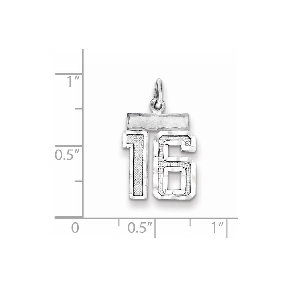 Beautiful Sterling silver 925 sterling Sterling Silver Rhodium-plated Small #16 Charm