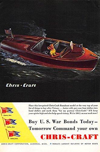 Print Ad 1944 Chris-Craft Buy U. S. War Bonds Today-Tomorrow Command Your (Ad Chris Craft)