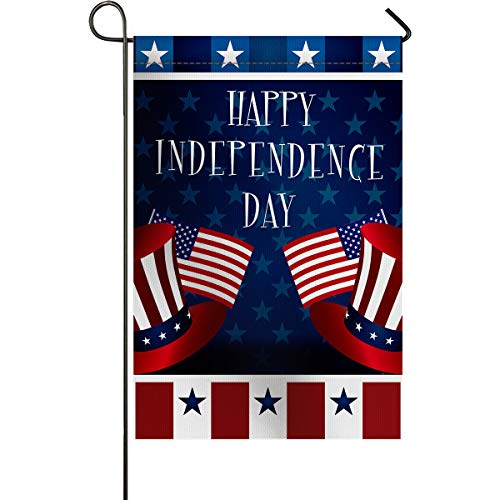 Welcome Garden Flag Vertical Double Sided 12x18inch Independence Day American Flag Theme Waterproof Polyester Fabric Yard Banners Flags for Outdoor/Indoor Home Decorative Uncle Sam Hat Star Stripes -
