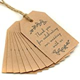 100PCS Kraft Paper Gift Tags, Wedding Favor Tags, Thank You Tag, Gift Tags With String, Vintage Wedding Decoration Favor