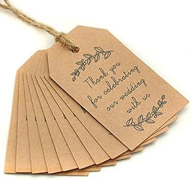 Amazon com : 100PCS Kraft Paper Gift Tags Wedding Favor Tags
