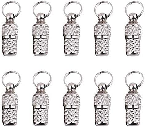 Pizies Mini Anti Lost Dog Cat ID Tag Stainless Steel Pets Address Name Label Barrel Tube Collar Pets Puppy ID Tube (10 Pack)