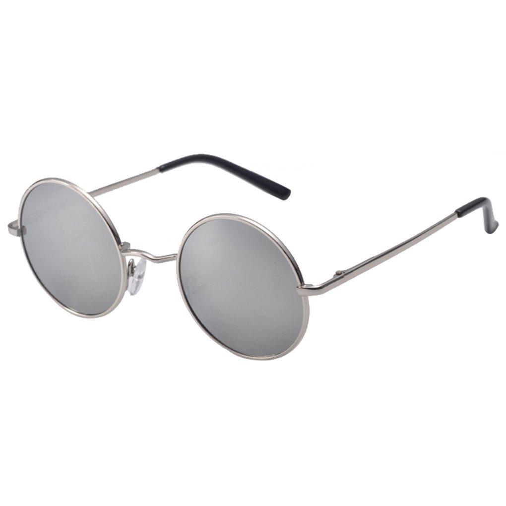 QHGstore Vintage Men Women Round Mirrored Sunglasses Eyewear Outdoor Sports Glasses Black 5TaM0Y