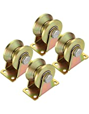 """Sanbege Caster Track, 2"""" V Groove Wheels, Sliding Gate Roller for Inverted Track, Industrial Machines, Wire Rope Rail, Pack of 4 (Each Loading Capacity 660 Lbs)"""