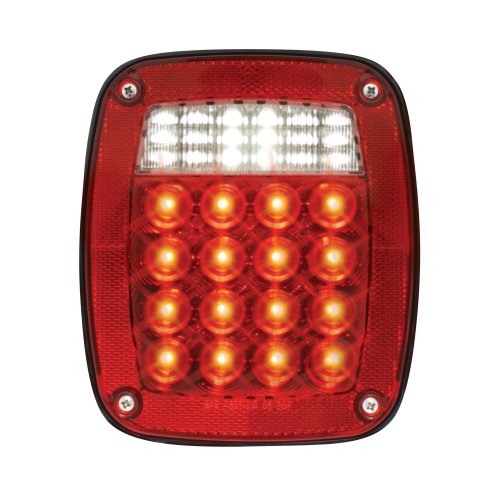 Grand General 80795 Red Universal 3-Stud Mount LED Tail Light with LED License Light