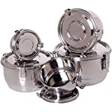 Stainless Steel Bowls with Lids - Airtight, Leak Proof Lunch Bowls, Coffee Containers, Food Storage Containers - Can be Used as Mixing Bowls - Set of 5
